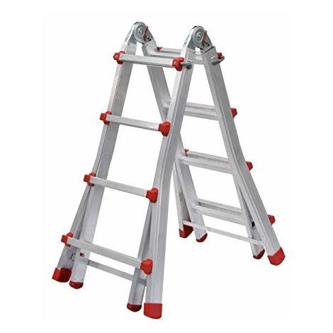 Escalera Telescópica Multiuso Plegable Profesional de Aluminio (4+3).