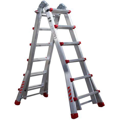 Escalera telescópica plegable profesional de aluminio (6+5). (4x6)
