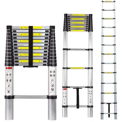 Escalera telescópica portátil y plegable 3.8M Escalera retráctil multipropósito de aluminio 12 peldaños Carga máxima 150 kg