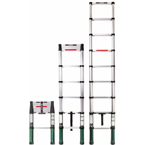 Escalera telescópica profesional de 2,6 metros, según certificación DEKRA y EN 131, muy robusta y montada para su seguridad - con sistema Softclose