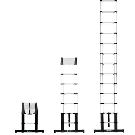 Escalera telescópica profesional de 3,8 metros, según certificación DEKRA y EN 131, muy robusta y montada para su seguridad - con sistema Softclose y viga transversal para una estabilidad adicional