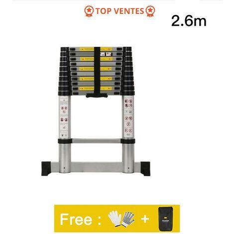 Escalera Telescópica,Escalera Plegable,2,6 Metro(s),Bolsa de transporte GRATIS,Barra estabilizadora,Carga máxima:150 kg