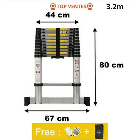 Escalera Telescópica,Escalera Plegable,3,2 Metro(s),Bolsa de transporte GRATIS,Barra estabilizadora,Carga máxima:150 kg