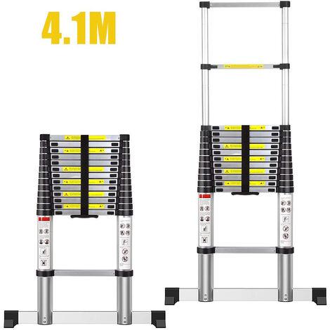 Escalera Telescópica,Escalera Plegable,4,1Metro(s),Bolsa de transporte GRATIS,Barra estabilizadora,Carga máxima:150 kg