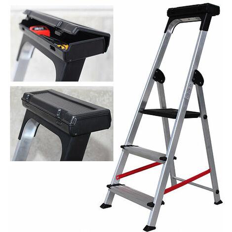 Escalera Tijera Ancha de Aluminio con bandeja herramientas