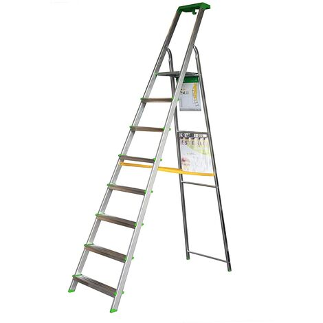 Escalera Tijera c/Bandeja Superior Multifuncional (8 Peldaños)