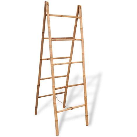 Escalera toallero doble con 5 peldaños bambú 50x160 cm - Marrón