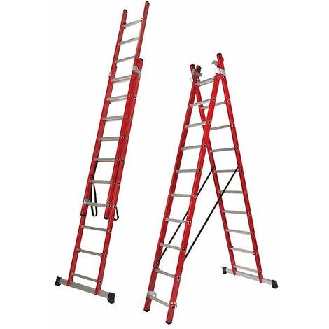 Escalera Transformable Aislante DOBLE, 2 Tramos Fibra de Vidrio