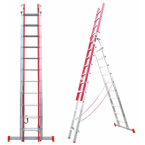 Escalera Triple Transformable de Fibra de Vidrio y Aluminio 3 Tramos Extensibles