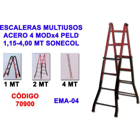 ESCALERAS MULTIUSOS ACERO 4 MODx4 PELD=1,15-4,00 MT SONECOL