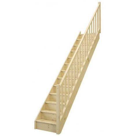 Escalier CLASSICA droit avec contremarche sapin rampe fuseaux bois L. 2.74 m à droite