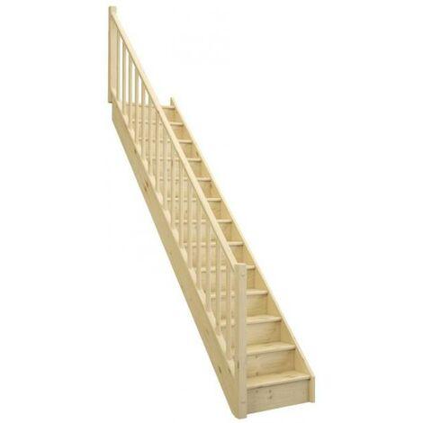 Escalier CLASSICA droit avec contremarche sapin rampe fuseaux bois L. 2.74 m à gauche