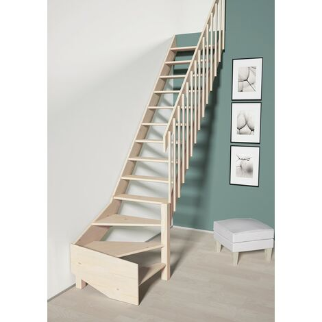 Escalier De Meunier avec quart de tour à droite 70 cm - Bois de Pin