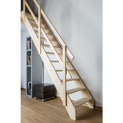 Escalier de meunier pour cage d'escalier 75 x 163 cm - 315 cm hauteur maximale