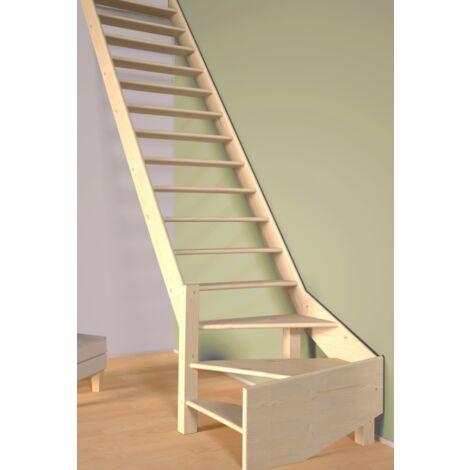 Escalier De Meunier quart de tour à gauche 80 cm - Bois de Pin