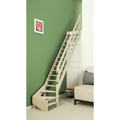 Escalier De Meunier quart de tour aux 65 cm à droite - Bois de Pin