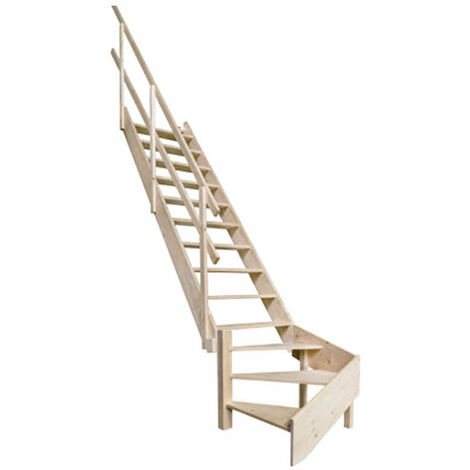 B. Escalier de meunier avec main courante à gauche