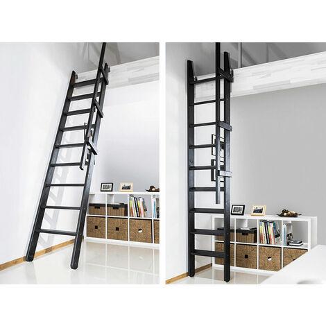 Escalier de meunier rabattable en bois naturel, noir ou blanc (plusieurs tailles disponibles)