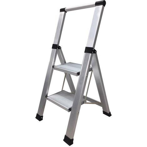 Escalier domestique large 2 marches 0,44Mt Aluminium Homelux