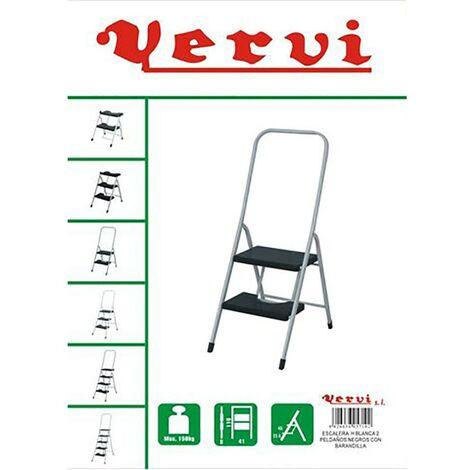 Escalier domestique main courante haute 2 marches 0,47Mt acier blanc Vervi