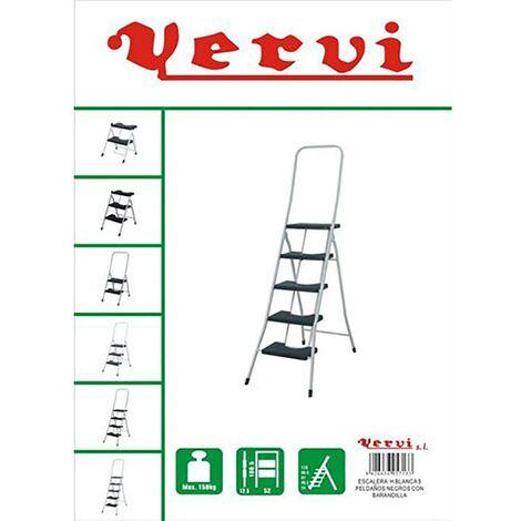 Escalier domestique Rampe haute 5 marches 1,10Mt Acier Blanc Vervi