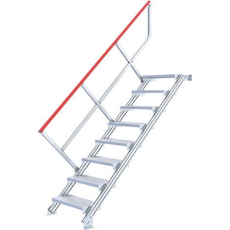Escalier droit alu - Largeur de 80cm (plusieurs tailles disponibles)
