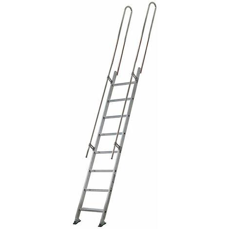 Escalier droit aluminium - Largeur de 45cm + 2 rampes standards (plusieurs tailles disponibles)