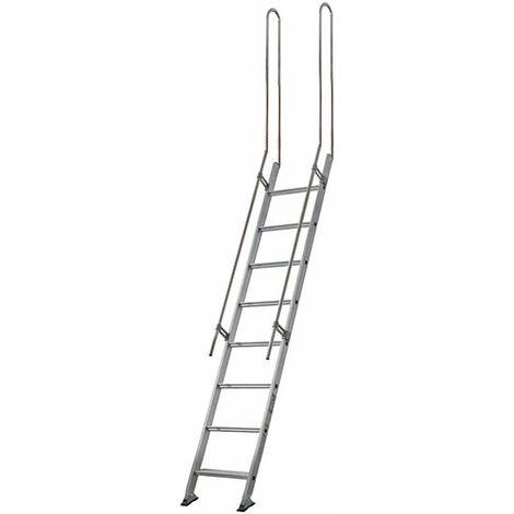 Escalier droit aluminium - Largeur de 45cm + 2 rampes verticales (plusieurs tailles disponibles)