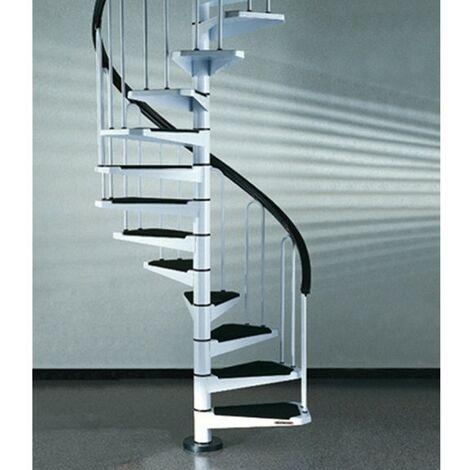 Escalier en colimaçon peu encombrant en blanc (RAL 9010) Métal - diamètre 100 cm - 14 étapes (295 cm - 330 cm)