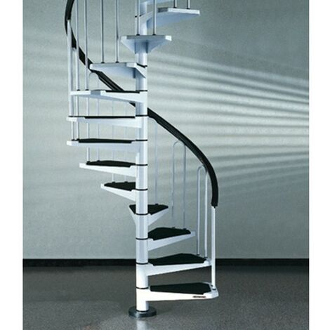 Escalier en colimaçon peu encombrant en blanc (RAL 9010) Métal - diamètre 100 cm - 15 étapes (316 cm - 353 cm)