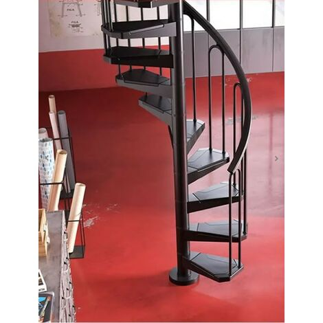 Escalier en colimaçon peu encombrant en noir (RAL 9017) Métal - diamètre 100 cm - 15 étapes (316 cm - 353 cm)