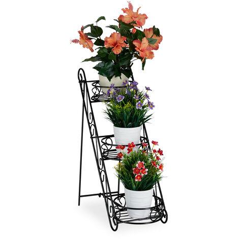 Escalier fleurs métal 3 niveaux, Support pot de fleurs, Étagère pour plantes rond 53,5 x 20 x 45,5 cm, noir