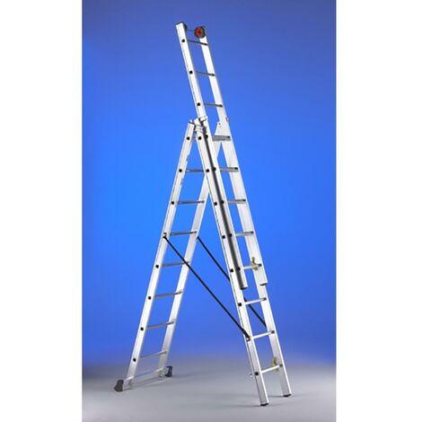 Escalier Industriel Triple Avec Base 10 Tiers 3,00/6,30Mt Aluminium Svelt