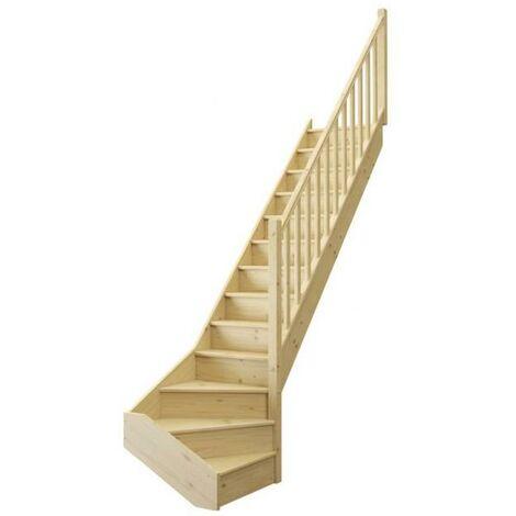 Escalier ONE quart tournant bas avec contremarche sapin rampe fuseaux bois L. 2.74 m à droite