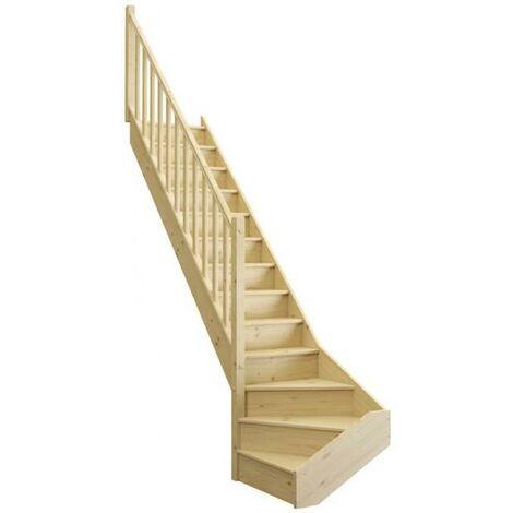 Escalier ONE quart tournant bas avec contremarche sapin rampe fuseaux bois L. 2.74 m à gauche