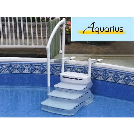 Escalier piscine aquarius pvc 4 marches main courante sku 006015 - Piscine hors sol escalier ...