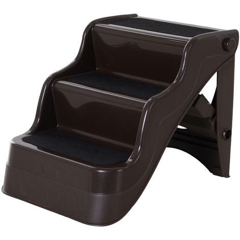 Escalier pour chien animaux pliable 3 marches antidérapant pliable portable charge max. 15 Kg 49L x 39l x 39H cm plastique marron foncé