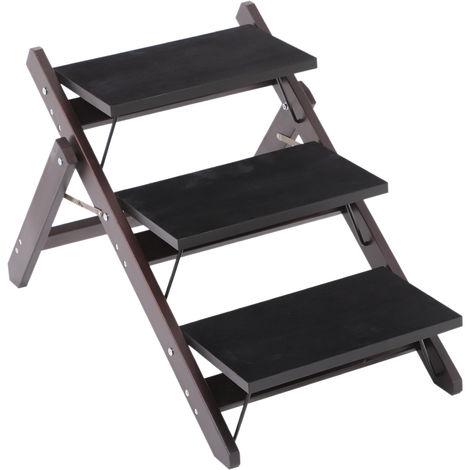 Escalier pour chien animaux pliable rampe 3 marches dim. 79L x 42l x 48H cm bois pin revêtement marches velours chocolat