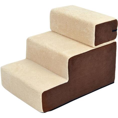 Escalier pour chien animaux rampe 2/3 marches déhoussable dim. 54L x 40l x 39H cm mousse haute densité tissu peluche courte marron crème