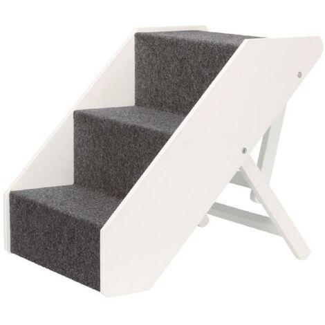Escalier, réglable en hauteur, en mdf - 40 × 67 cm, blanc