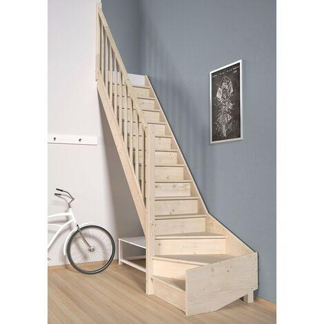 Escalier TradiEco (pin) quart de tour en bas avec la à gauche en bas