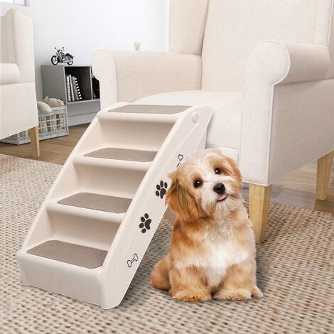 Escaliers pliables pour chiens Crème 62x40x49,5 cm