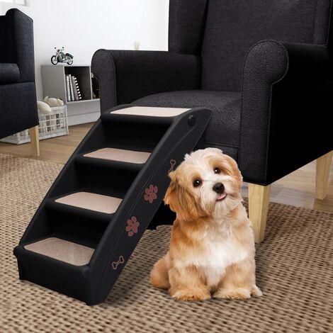 Escaliers pliables pour chiens Noir 62x40x49,5 cm