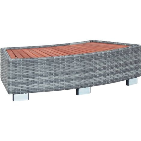 Escalón para jacuzzi ratán sintético gris 92x45x25 cm