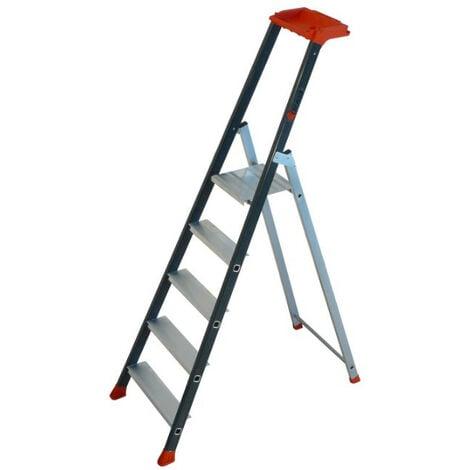 Escalux - Escabeau en aluminium Professionnel 5 marches haut. travail 3,02 m - PROLUX PLUS