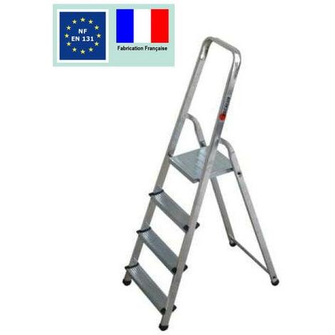 Escalux - Escabeau ménager de sécurité Aluminium 4 marches Hauteur 2,77 m - ALUMIXTE