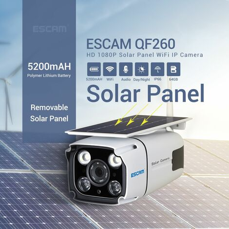ESCAM QF260 WIFI HD 1080P 2MP Wireless Surveillance Camera IP67 Outdoor Solar Battery Power IP Camera Surveillance Security PIR