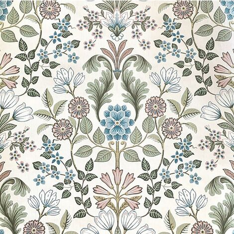 Escapade Floral Wallpaper Damask Muriva Textured Vinyl Cream Blue Green Flower