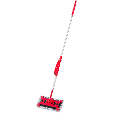 Escoba Eléctrica sin Cable, Cepillo de Barrer con Batería Recargable, Palo Ajustable de 126 cm, Rojo/Plateado
