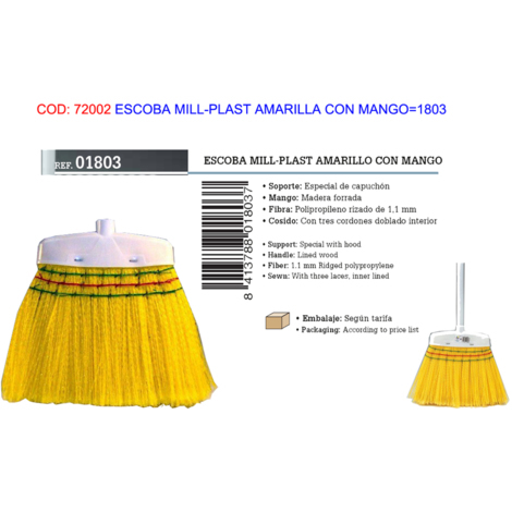 ESCOBA MILL-PLAST AMARILLA CON MANGO=1803